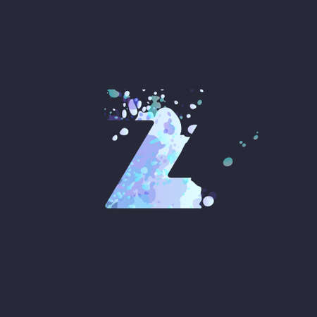 Bold letter Z with effect of liquid spots of paint in blue, white, purple colors on dark navy background. Decoration element for winter design of a flyer, poster, calendar, cover, title. Vector EPS10