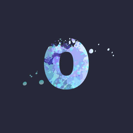 Bold number 0 with effect of liquid spots of paint in blue, white, purple colors on dark navy background. Decoration element for winter design of a flyer, poster, calendar, cover, title. Vector EPS10 向量圖像