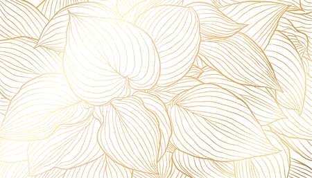 Golden leaves hand drawn line art on white background. Luxury art deco wallpaper design for print, poster, cover, banner, fabric, invitation. Vector digital illustration.