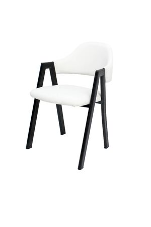 Dining chair isolated on white background. Metal upholstered armchair design for modern contemporary restaurants and coffee shops. Dining room furniture.