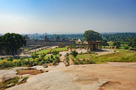 karnataka: Ruins of Hampi, India. Ganesh statue in Sasivekalu Ganesha, the ancient temple of Hampi, Karnataka, India.