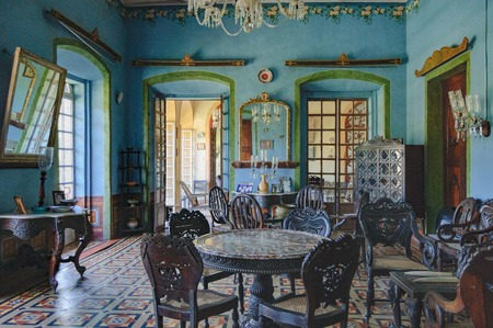 Goa, India - November 16, 2012: Menezes Braganza Pereira House - old colonial Villa-Museum of Portuguese era with beautiful paintings, furniture items and other decoration stuff of 16-18 century.
