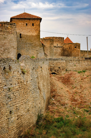 Walls of Fortress Akkerman in Bilhorod-Dnistrovskyi, Ukraine. Around the castle is drained the moat, which had previously been water.
