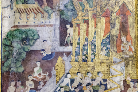wat pho: Bangkok, Thailand - December 7, 2015: Ancient Buddhist temple mural painting of the life of Buddha inside of Wat Pho in Bangkok, Thailand