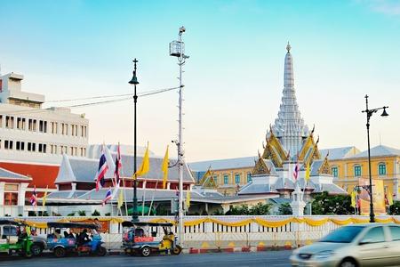 Bangkok, Thailand - December 5, 2015: Street view of City Pillar Shrine Lak Muang from Sanam Chai Road, historical center of Bangkok, Thailand.