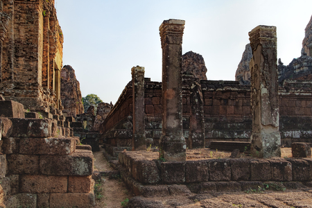 Walls of the The Pre Rup temple in Angkor Complex, Siem Reap, Cambodia. It has two enclosing walls and three tiers and was dedicated to the Hindu god Shiva. Ancient Khmer architecture, World Heritage Stock Photo