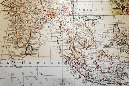 Kuala Lumpur, Malaysia - February 11, 2016: Ancient map of Southeast Asia at the Islamic Arts Museum in Kuala Lumpur, Malaysia