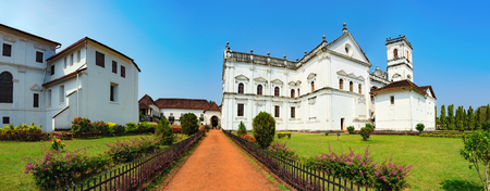 Catedral de Santa Catarina, known as SE Cathedral and Archbishops Palace in Old Goa, India. The view from the road to the courtyard