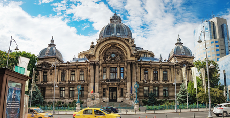Bucharest, Romania - September 9, 2017: Panoramic view of the The CEC Palace, The Palace of the Savings Bank in the historical center Lipscani Street, Bucharest, Romania.
