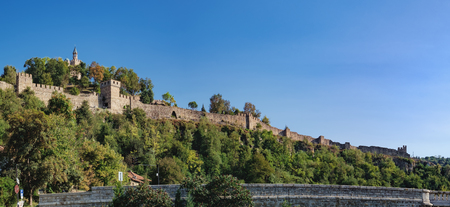 Medieval ruins of Tsarevets fortress on Tsarevets hill and Patriarchal Cathedral on the top of hill, Veliko Tarnovo, Bulgaria