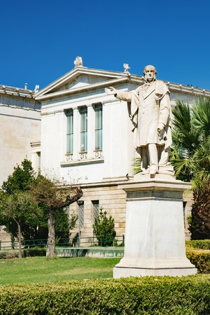 Statue of William Gladstone in front of the old University of Athens building, Athens, Greece