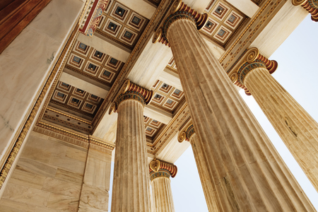 Detail of ceiling and marble columns of Academy of Athens in Athens, Greece.Bottom view
