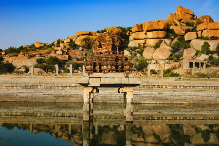 Pushkarani is a sacred lake on the way to the Vitthala temple in Hampi, Karnataka, India. The pond served to the ritual and functional aspects of the temple and life surrounding it.