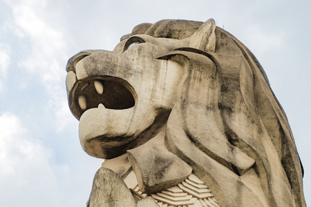 Sentosa Island, Singapore - January 18, 2018: Top of the Merlion Statue is the head of a lion, Sentosa Island, Singapore.