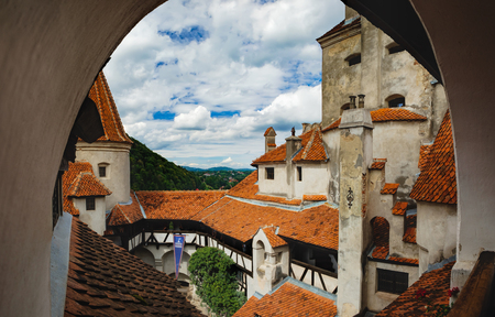 Bran, Romania - September 7, 2017: View of inside part of Bran or Dracula Castle in Transylvania, Romania. Tower of medieval Bran Castleor under a cloudy sky