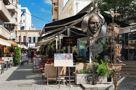 Bucharest, Romania - September 9, 2017: Conceptual design of the Distrikt 42 restaurant, located at the Sfantul Dumitru Street in the historical center of Bucharest.