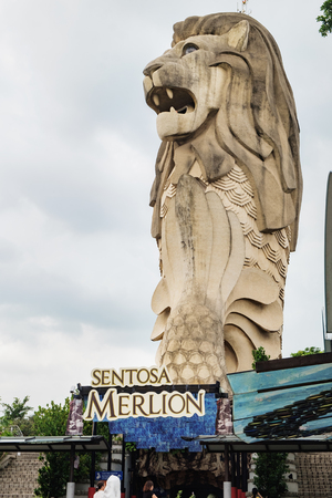 Sentosa Island, Singapore - January 18, 2018: Merlion Statue on Sentosa Island in Singapore.