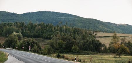 No cars, auto on asphalt road through green forest, trees, pines, spruces and mountain in Blagoevgrad Province, southwestern Bulgaria. Banco de Imagens