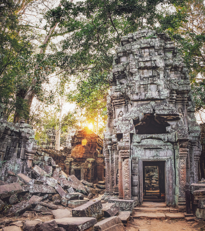 Ta Prohm Temple in the bright rays of the setting sun, located in Angkor Complex, Siem Reap, Cambodia. Ancient Khmer architecture, famous Cambodian landmark Фото со стока