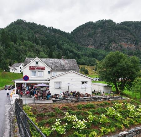 Steine, Norway - August 2, 2018: Souvenir shop near Steinsdalfossen waterfall in Steine, Norway