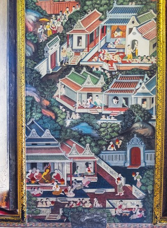Bangkok, Thailand - February 28, 2018: Ancient Buddhist temple mural painting of the life of Buddha inside of Wat Pho in Bangkok, Thailand Editorial