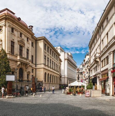 Bucharest, Romania - September 9, 2017: Panoramic view of walking tourists on the street of the historical center Lipscani Street, the liveliest entertainment district in Bucharest