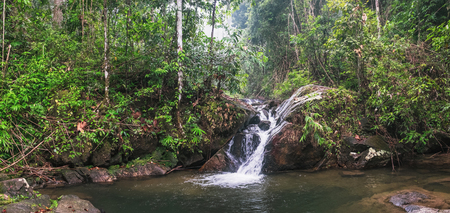 Beautiful waterfall in deep forest at Khao Lak-Lam Ru National Park, Phang-nga, Thailand.