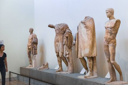 Delphi, Greece - September 21, 2017: Tourist visiting Archaeological museum in Delphi Greece Stock Photo - 130763658