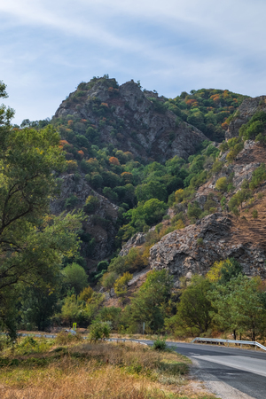No cars, auto on asphalt road through cliffs and pine forest in Blagoevgrad Province, south-western Bulgaria.