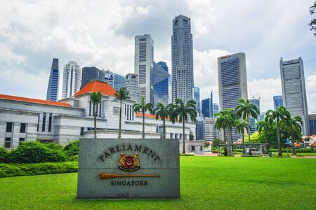 Singapore - January 19, 2018: Singapore Parliament building in front of Singapore downtown