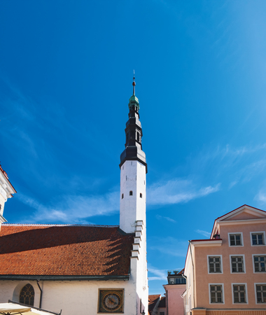 Church of the Holy Spirit in Old town of Tallinn, Estonia. Bell tower.