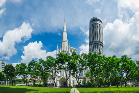Day scene of St Andrews Cathedral in Singapore. St Andrews Cathedral is one of the famous tourist attraction in Singapore.