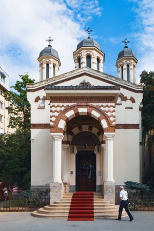 Bucharest, Romania - September 9, 2017: Biserica Zlatari is a small Orthodox church in the historic center of Bucharest, on Victory Avenue or Calea Victoriei, Romania