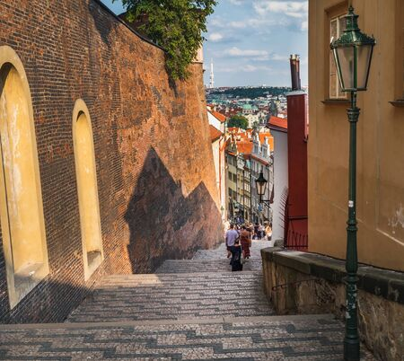 Stairs of the Old Town leading to Prague Castle, Czech Republic