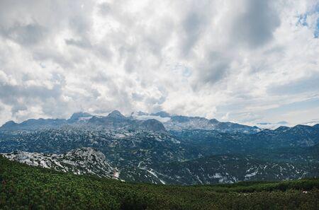 Panoramic summer view of Dachstein Mountains taken from Krippenstein cable car station in Upper Austria, Austria Zdjęcie Seryjne