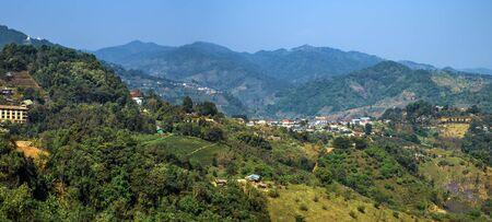 View of Tea Plantation, located on Doi Mae Salong Mountain in Chiang Rai province of Thailand, near the Golden Triangle. Tea farm organic