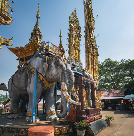 Side view of big elephant statue located in Golden Triangle area along the Mekong river in Chiang Saen, Thailand