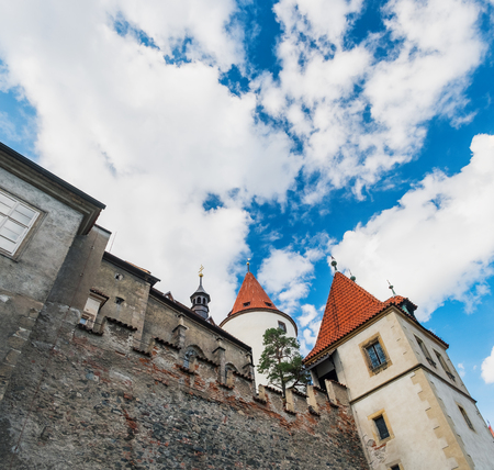 Panoramic bottom view of famous medieval Krivoklat Castle in Bohemia, Czech Republic. It is royal castle museum, tourist destination and place for theatrical exhibitions. Editorial