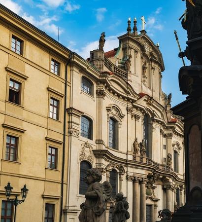 Side view of St Nicholas Church, Baroque church in the Lesser Town of Prague, Czech Republic
