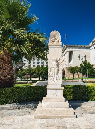 Iconic statue of the ancient Greek goddess Nike near Academy of Athens, Athens historic center, Attica, Greece Editorial