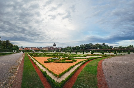 Panoramic view on the beautiful Belvedere garden to Lower Belvedere Palace in the center of Vienna, Austria.