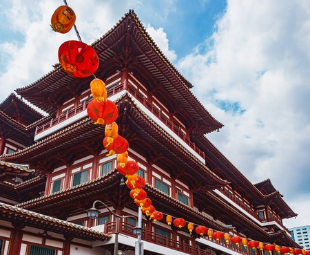 Buddha Tooth Relic Temple in China Town, Singapore. View from Sago Street