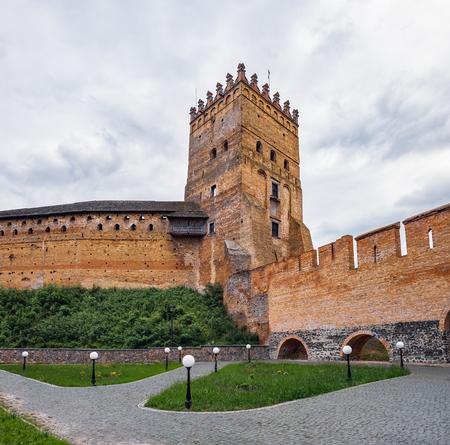 Lutsk, Ukraine - July 3, 2018: Tower of Lutsk Castle. It is the most prominent landmark in Lutsk, Ukraine