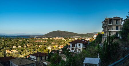 Panoramic view of Lefkada town in Lefkada island, Greece