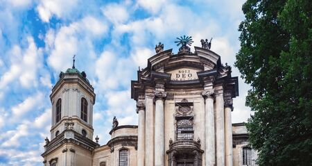 Panoramic summer view of The Dominican church and monastery located in Old Town, east of the market square, Lviv, Ukraine