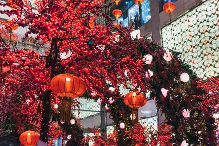 View of Chinese New Year decoration in the center of Kuala Lumpur to celebrate upcoming Chinese New Year celebration, Malaysia