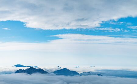 Panoramic view of clouds over the peak of the Dachstein Mountains taken from Krippenstein cable car station, Salzkammergut region, Upper Austria, Austria
