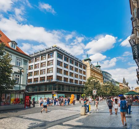 Prague, Czech Republic - August 16, 2018: Na prikope is a pedestrian only and primary clothing shopping street in downtown of Prague and contains many of the big international names.