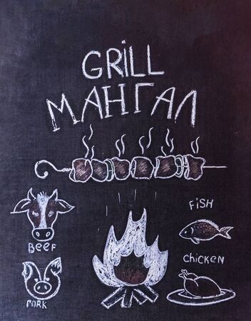 Sign menu grill and barbecue of fish, poultry and meat, drawn with white chalks on a black blackboard. Russian translation: brazier