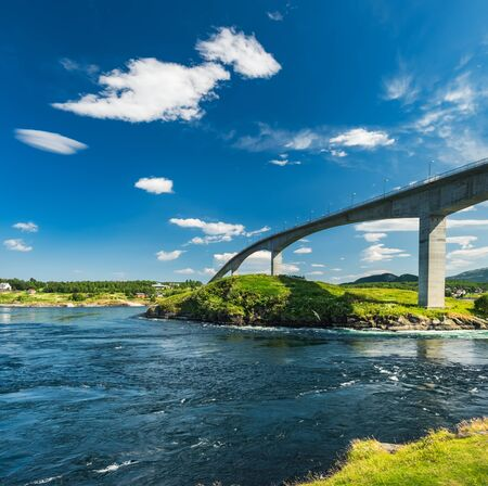 Saltstraumen bridge near Bodo in Nordland, Norway. Norwegian summer landscape, stream view with whirlpools and waves